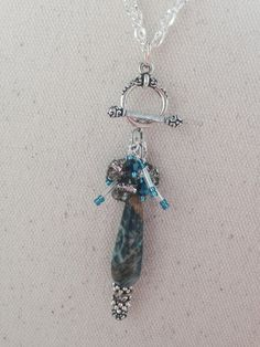 Agate Beaded Pendant Necklace #127