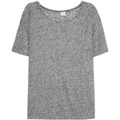 Base Range Linen and cotton-blend T-shirt ($43) ❤ liked on Polyvore featuring tops, t-shirts, tees, shirts, grey, loose shirts, gray shirt, cotton blend t shirt, loose fit t shirts and linen tee