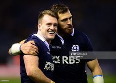 Stuart Hogg , and Sean Lamont of Scotland acknowledges the warm applause from the crowd at the end of the International match between Scotland and Argentina at Murrayfield Stadium on November 8, 2014 in Edinburgh, Scotland.