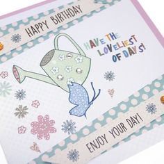 Handmade Luxury Birthday Card Embossed Dotty Gold Shimmer Green Sparkling Gems Watering Can Garden Flowers - 'Enjoy your Day!'