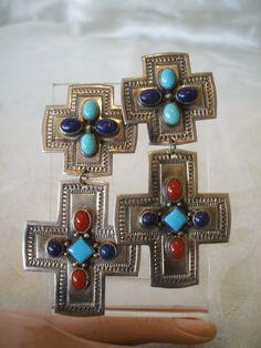 Vintage NAVAJO Sterling Silver & Multi-Stone Cluster Santa Fe CROSS EARRINGS.  TurquoiseKachina, $305.10