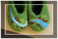 CUSTOM NEEDLE FELTED art for wool felted slippers ... to be purchased only with slipper listing. $25.00, via Etsy.