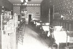 "This is what the main barroom of Oblio's looked like in the early 1900s when the English Kitchen resided there. The Schlitz Beer Hall occupied the southern half of the space with the English Kitchen taking the north portion. The 1902-English Kitchen was an ""up-to-date restaurant and lunch room... open day and night... luncheon after the theatre and dancing parties our specialty. Best 25 cent dinner in the city."""