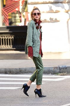 Model Olivia Palermo is seen at a photoshoot in Soho on October 18 2016 in New York City
