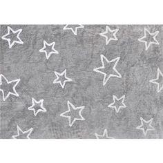 Alfombra infantil estrella gris rosa lavable en lavadora for Alfombras infantiles rebajas