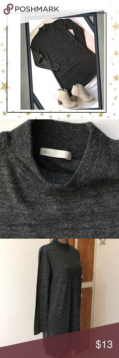 "Basic H&M Sweater Dress 💕 Dark grey sweater dress. Length of sleeves are 24"". Measures 20"" across bust🌸Approximately 32"" from top shoulder seam to lower hem. This garment hits just above my knees (I'm 5'6"" and wear an size 8 dress). All tags have been removed except the H&M tag. This dress is super cute with leggings and booties. Great piece to add layers over for Fall and Winter. See all photos and ask questions before purchase. No smoke and Pet Friendly home 🏡 Basic H&M Dresses Long…"
