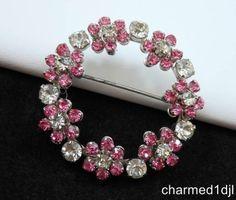 Vintage Eternal Circle Pink & Clear Rhinestone Brooch Pin So Sparkly! $22.00