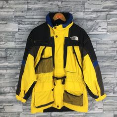 Vintage The NORTH FACE Jacket Large North Face Ski Wear Multicolour Jacket  North Face Tnf Yellow Hoodie Skiing Hooded Jacket Bomber Size L 3b93d486b