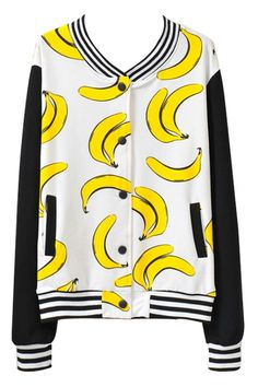 Banana Pattern Paneled Baseball Jacket