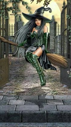 Beautiful Halloween Witch riding on her broomstick with her black cat Fantasy Witch, Dark Fantasy Art, Elfen Fantasy, Witch Art, Fantasy Women, Fantasy Girl, Fantasy Artwork, Witch Pictures, Halloween Pictures