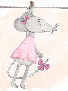 Cuadro bebe ratón o ratita de peluche, pintado a mano con pintura y acuarela, para la habitación o cuarto de los más pequeños de la casa