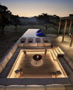Dream Home Design, Modern House Design, Modern Backyard Design, Terrace Design, Modern Patio, Modern Landscaping, Outdoor Fireplace Designs, Fireplace Ideas, Modern Outdoor Fireplace