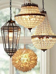 I wonder how one could copy cat this idea...Lovely lighting. Love the cluster idea.