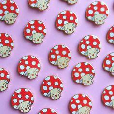 Image of Marty the Happy Magic Mushroom - Hard Enamel Pin