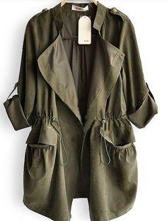 WANTT - Amy Green Drape Collar Pockets Long Sleeve Drawstring Outerwear - Sheinside.com