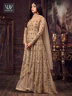 Get Sonal Chauhan Beige Designer Anarkali Salwar Suit latest designer party wear salwar suits, wedding wear anarkali dress for women at VJV Fashions. Robe Anarkali, Costumes Anarkali, Net Lehenga, Anarkali Suits, Lehnga Dress, Punjabi Suits, Salwar Kameez, Sharara Suit, Kurti