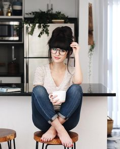 @newdarlings - topknot bun and glasses - morning coffee