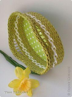 Поделка, изделие Плетение: Плетеночка в подарок Бумага газетная, Трубочки бумажные. Фото 2