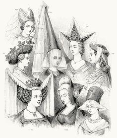 Female head-gear: VI. fifteenth century English; VII. fifteenth century German; VIII. a steeple; IX. the triple-horned hennin; X. the last of the hennin; XI. The turban; XII. the German roundlet; XIII. temp. mabuse