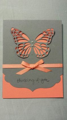 Butterflies Thinlits and Sheltering Tree set from Stampin'Up! Love these colors even if I never have the equipment to do it! Making Greeting Cards, Greeting Cards Handmade, Butterfly Cards, Orange Butterfly, Paper Butterflies, Cricut Cards, Stamping Up Cards, Get Well Cards, Handmade Birthday Cards
