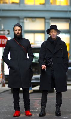 WINTER LOOKS ALL BLACK BRIGHT RED DETAILS HAT PANTS DENIM LACE UP BOOT COATS JACKETS BEANIE PHOTOGRAPHERS Adam Katz Sinding YoungJun Koo VIA An Unknown Quantity New York
