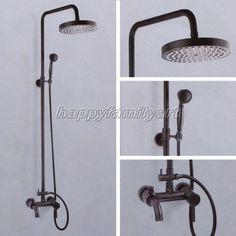 Black Oil Rubbed Brass Bath Rain Shower Faucet Set Bathtub Mixer Tap Yhg037 K