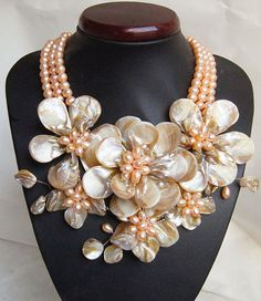Beaded Jewelry,Pearl Necklace,beadwork necklace,bib necklace,statement necklace,flower necklace  With  MOP Shell