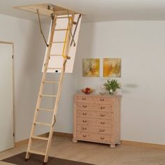 interior fancy picture of home interior decoration using folding solid oak wood ladder for loft space along with solid oak wood home flooring and white
