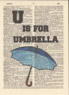 U is for Umbrella Vintage Upcycled Book Page Dictionary Art Print Mixed Media