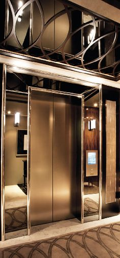 **Surround our commercial elevator at New House with Mirror on Floor/ Theater-Arcade Penthouse Suite, Luxury Penthouse, Lobby Interior, Interior Design, Elevator Design, Elevator Lobby, Lift Design, Live In Style, Hotel Lobby