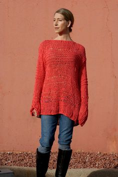 Selene - Coral Salmon Custom Open Knit Hand knit Lace Open Weave Knit Sweater Off The Shoulder by Eva Bella Boutique