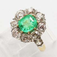Antique Victorian Ring Emerald Diamonds 18k Gold Platinum Cushion Cut (#6322)