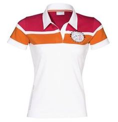 Porsche Women's Polo Shirt - Size Small by Porsche. $110.00. With Porsche Performance logo and contrasting stripes on the chest area. Sewn-on on sleeve and Porsche logo along the side seam. Neckband in contrasting color. Shortened buttonhole placket. 95% cotton, 5% elastane. In White.  *Please note that this item is imported and has a European fit.