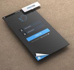 Fresh. New. Clean. Minimal. Simple. Log In. Tool. Twitter. Social. Media. Application. Concept. Black & Blue. Idea. Beauty. Improve. Screen. Flat. Design. Phone.