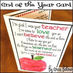This download is for a FREE End of The Year Thank You Card! Directions are included in the download. You will need to print on card stock paper or cut and mount after printing on regular paper. I have also included a PowerPoint version of the inside of the card for