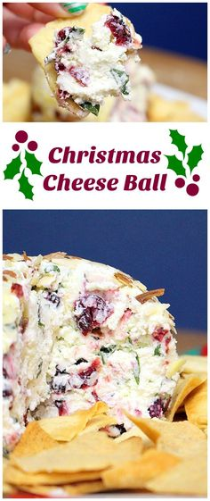 Dried cranberries, goat cheese, and basil make this simple cheese ball a big hit at any party. The silver lining being that it's Christmas colors.