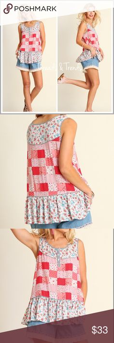 Red Patchwork Top Adorable summer patchwork floral print top. Sleeveless with Henley button detail and ruffle hem. Great everyday wear. Made of Rayon Threads & Trends Tops Blouses