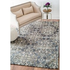 nuLOOM Contemporary Denim Floral Cotton Area Rug (8' x 10') - Overstock Shopping - Great Deals on Nuloom 7x9 - 10x14 Rugs