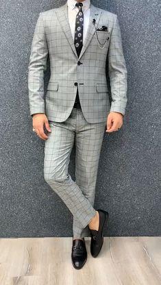 Marc Plaid Gray/Black Slim Suit, Adult Fashion For Men videos Dress Suits For Men, Formal Dresses For Men, Formal Men Outfit, Formal Suits, Mens Suits, Trendy Suits For Men, Men Formal, Blazer Outfits Men, Mens Fashion Blazer