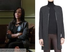 Olivia Pope (Kerry Washington) wears this grey boucle tweed long maxi cardigan/coat with black leather trim in this week's episode of Scandal. It is the Ralph Lauren Black Label Nancy Long Cashmere Cardigan. Buy it HERE for $1095