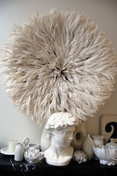Large Bamileke Feather Juju Hat (Off White)The Block Shop - Channel 9