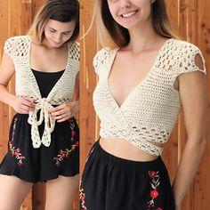 Crochet Top pattern PDF, Crochet pattern -ADORA- crochet top, crop top pattern, Wrap Crop top pattern, Bust size to Sizes S-M-L-XL Buy 3 patterns and get Crochet Bodycon Dresses, Black Crochet Dress, Crochet Halter Tops, Crochet Crop Top, Crochet Blouse, Crochet Bikini, Débardeurs Au Crochet, Patron Crochet, Crochet Simple