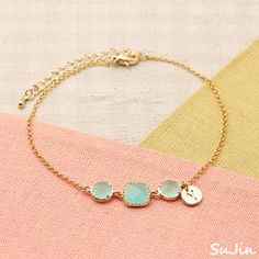 Round and Square Shaped Framed Cloudy Mint Cubic Connectors with Round Personalized Inital Charm, Bracelet op Etsy, 16,17€