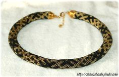 Ethnical ornament bead crochet necklace black and by Shinkabeads