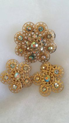 "Stunning Vintage Mid Century ""AURORA BOREALIS"" Faceted Rhinestones in a Washed Gold Metal Setting Demi Parure, Brooch & Earrings Set. by RuthiesThisandThat on Etsy"
