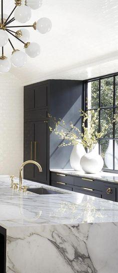grey kitchen brass hardware marble island #Kitchenideas