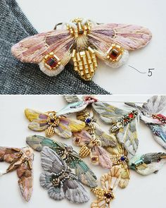 New series: 3 fairies 4 birds 6 butterflies! New series: 3 fairies 4 birds 6 - Tambour Embroidery, Hand Embroidery Flowers, Embroidery Jewelry, Hand Embroidery Patterns, Ribbon Embroidery, Beaded Embroidery, Embroidery Stitches, Embroidered Butterflies, Embroidery Fashion