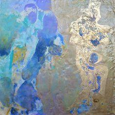 """Opal - Encaustic with shellac burn 12""""x 12"""" by Gerda Liebmann"""