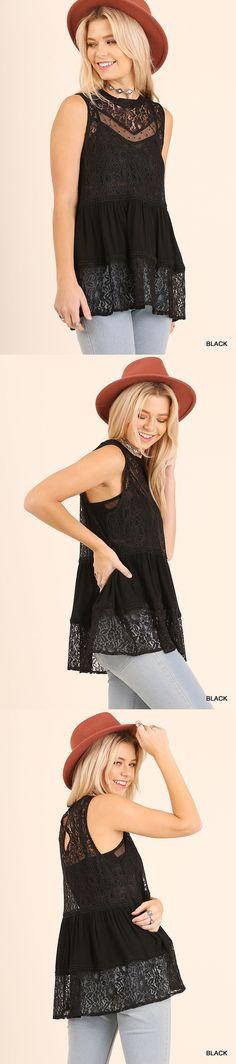 Women Fashion: Umgee Women S Bohemian Sleeveless Black Lace Top Tunic Blouse Medium -> BUY IT NOW ONLY: $34.5 on eBay!
