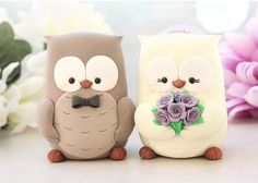 Owls wedding cake toppers
